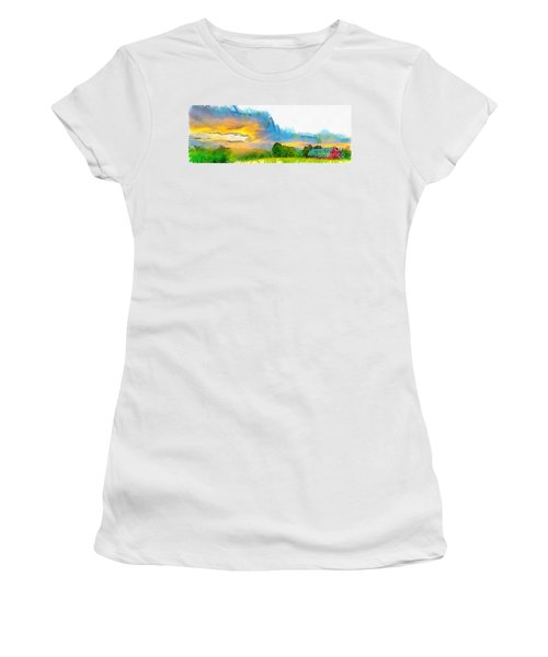Sunset On The Farm Pencil Women's T-Shirt
