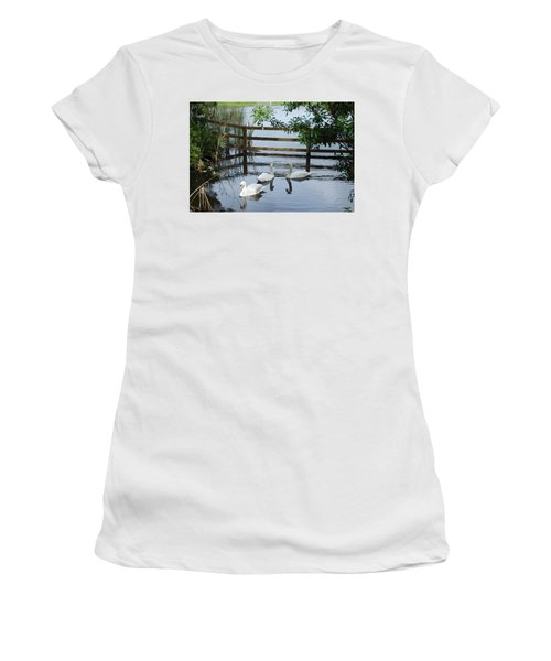 Swans In The Pond Women's T-Shirt (Athletic Fit)