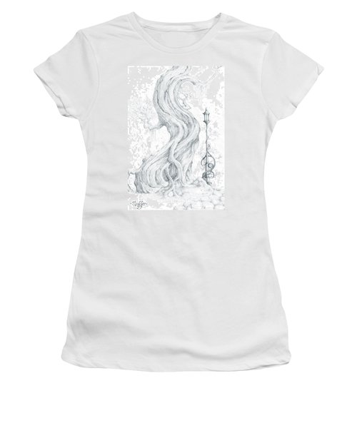 Women's T-Shirt (Junior Cut) featuring the drawing Sylvia And Her Lamp Drawing by Curtiss Shaffer