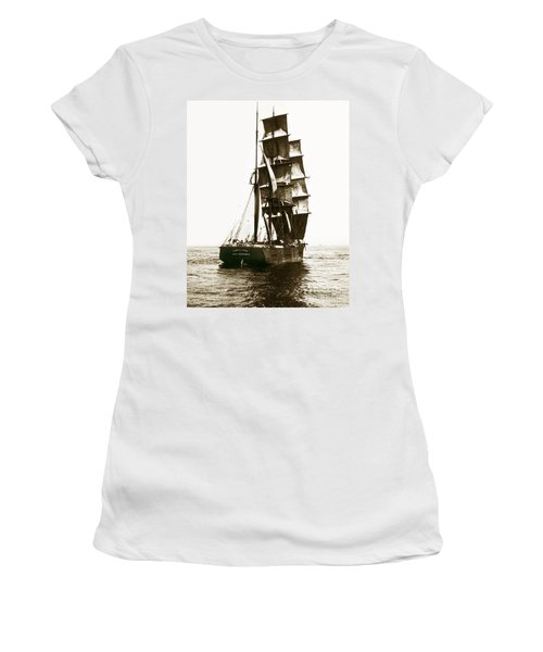 Women's T-Shirt (Junior Cut) featuring the photograph Tall Ship Germania Out Of San Francisco California  Circa 1900 by California Views Mr Pat Hathaway Archives