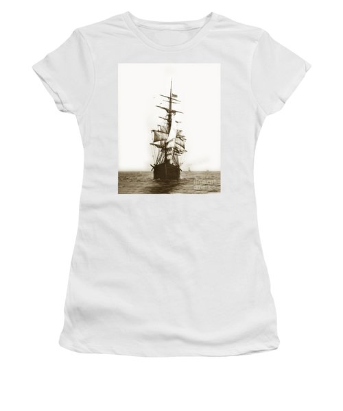 Women's T-Shirt (Junior Cut) featuring the photograph Tall Ship Sailing Out Of San Francisco California Circa 1900 by California Views Mr Pat Hathaway Archives