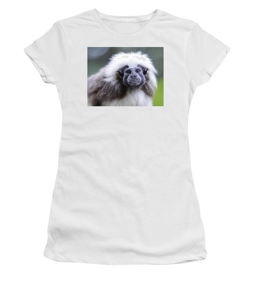 Women's T-Shirt (Junior Cut) featuring the photograph Tamarins Face by Shoal Hollingsworth