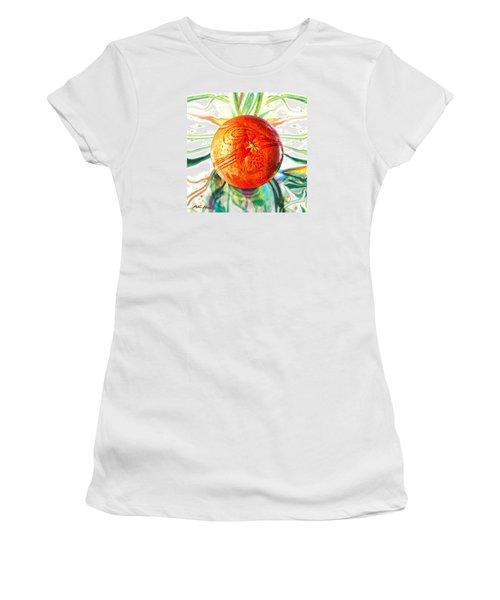 Tangerine Orb Nouveau Women's T-Shirt (Junior Cut) by Robin Moline