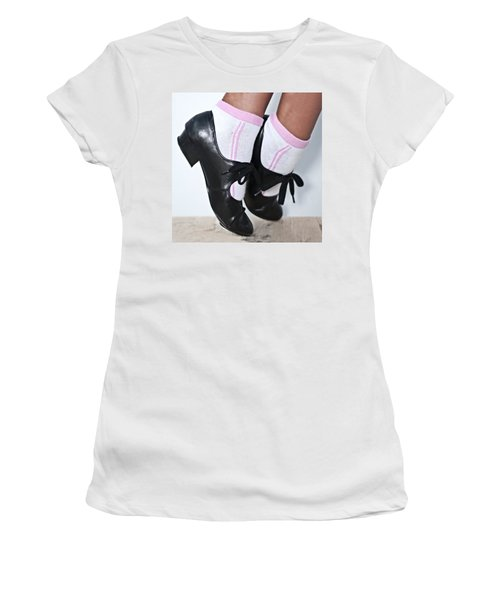 Tap Dance Shoes From Dance Academy - Tap Point Tap Women's T-Shirt (Junior Cut) by Pedro Cardona