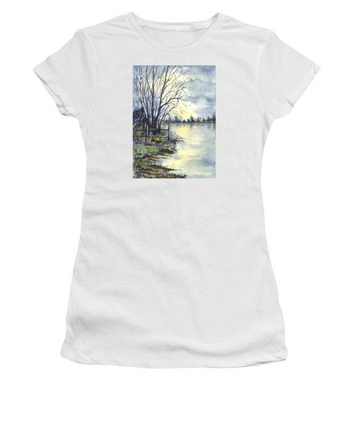 Moonlight Reflections In Loch Tarn In Scotland Women's T-Shirt (Junior Cut) by Carol Wisniewski