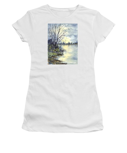 Moonlight Reflections In Loch Tarn In Scotland Women's T-Shirt (Athletic Fit)
