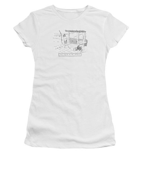 Tarzan Is About To Swing On A Vine. A Girl Sits Women's T-Shirt