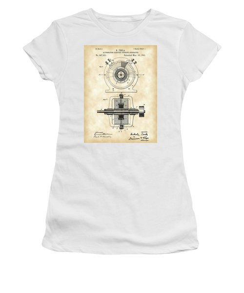 Tesla Alternating Electric Current Generator Patent 1891 - Vintage Women's T-Shirt (Athletic Fit)