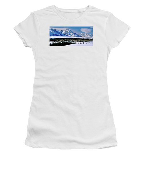 Teton Valley Winter Grand Teton National Park Women's T-Shirt (Athletic Fit)
