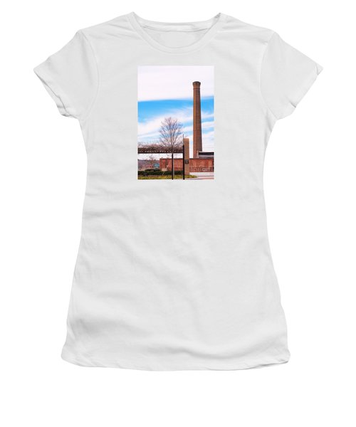 Women's T-Shirt (Junior Cut) featuring the photograph Historical Textile Mill Smoke Stack In Columbus Ga by Vizual Studio