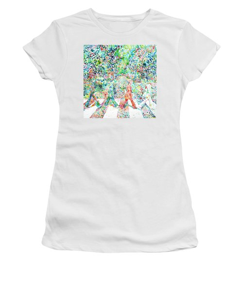The Beatles - Abbey Road - Watercolor Painting Women's T-Shirt (Athletic Fit)