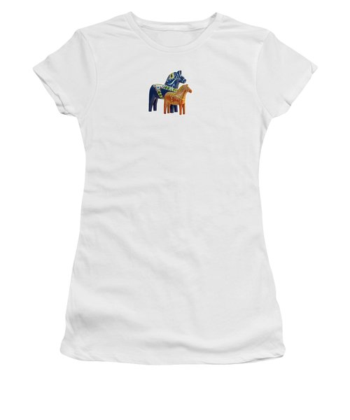 The Blue And Red Dala Horse Women's T-Shirt (Junior Cut) by Torbjorn Swenelius