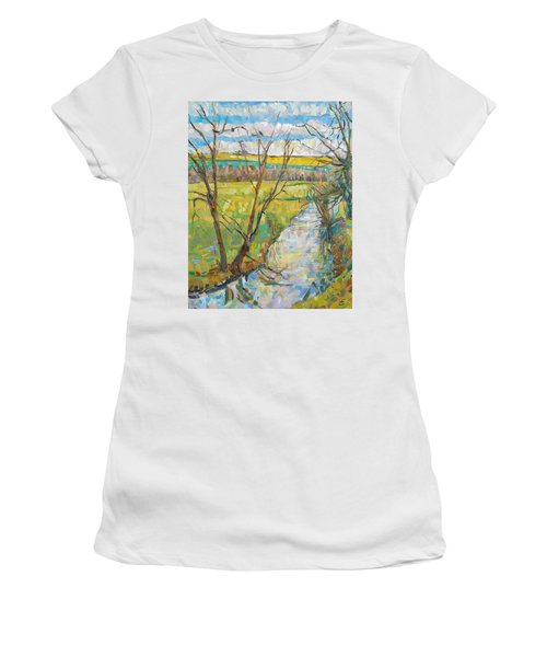 The Cherwell From Rousham II Oil On Canvas Women's T-Shirt