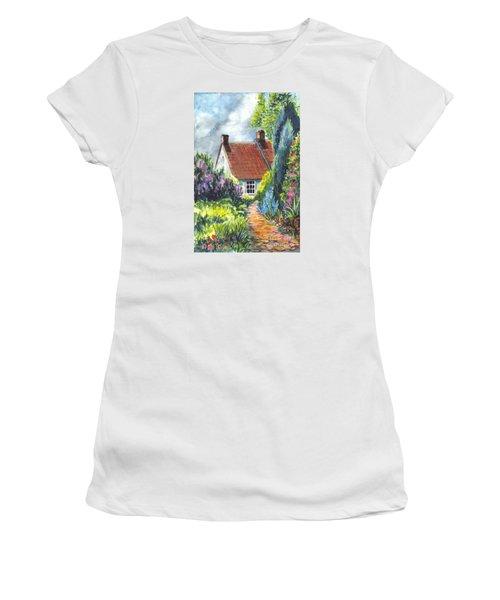 The Cottage Garden Path Women's T-Shirt (Junior Cut) by Carol Wisniewski