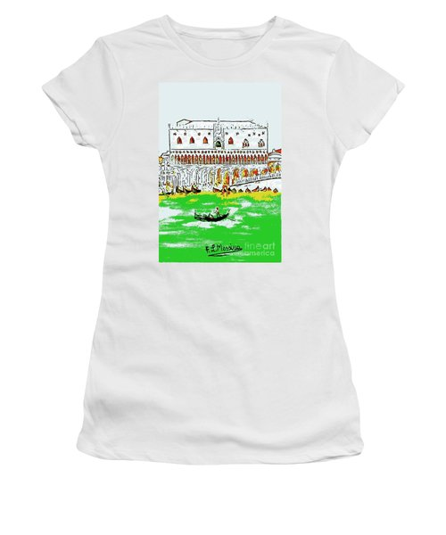 Women's T-Shirt (Junior Cut) featuring the painting The Doge's Palace by Loredana Messina