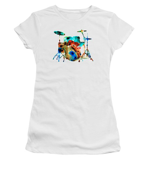 Women's T-Shirt (Athletic Fit) featuring the painting The Drums - Music Art By Sharon Cummings by Sharon Cummings