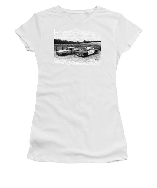 The General Lee And Barney Fife's Police Car Women's T-Shirt (Athletic Fit)