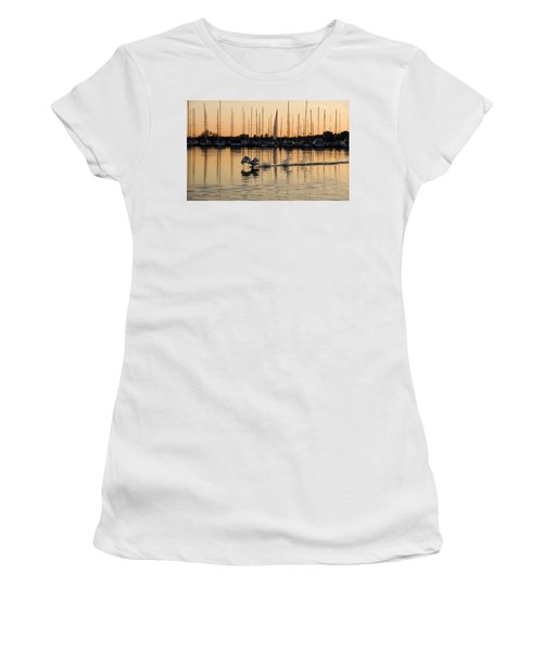 The Golden Takeoff - Swan Sunset And Yachts At A Marina In Toronto Canada Women's T-Shirt