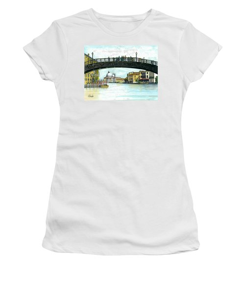 Women's T-Shirt (Junior Cut) featuring the painting The Grand Canal Venice Italy by Albert Puskaric