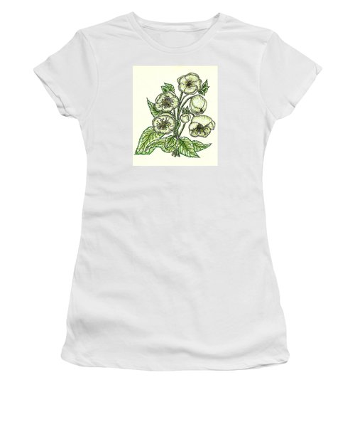 Women's T-Shirt (Junior Cut) featuring the drawing The Helleborous by VLee Watson