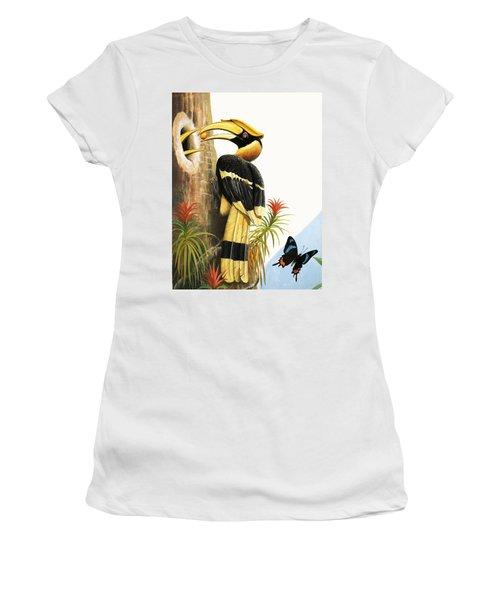 The Hornbill Women's T-Shirt (Junior Cut) by R.B. Davis