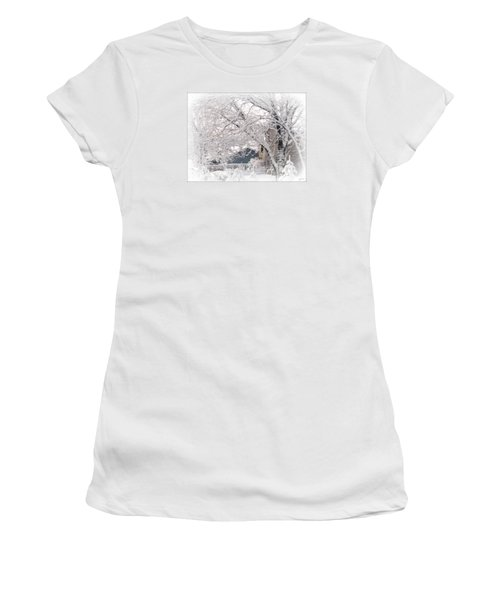 Women's T-Shirt (Junior Cut) featuring the photograph The Last Snow Storm by Kay Novy