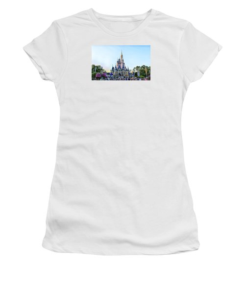 The Magic Kingdom Castle On A Beautiful Summer Day Horizontal Women's T-Shirt (Junior Cut) by Thomas Woolworth