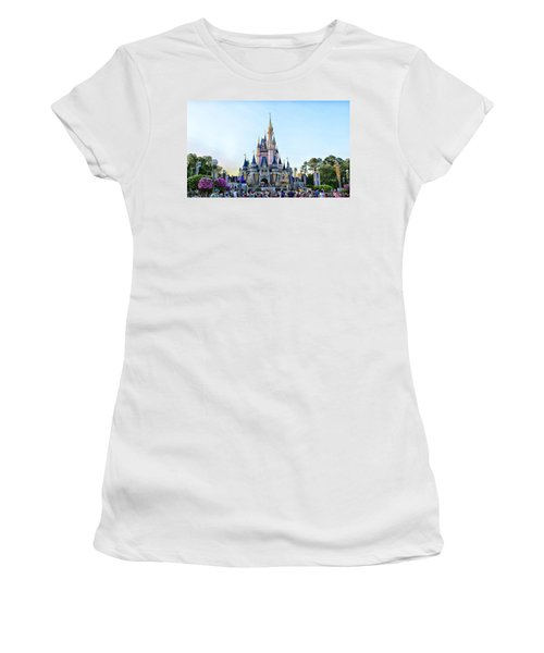 The Magic Kingdom Castle On A Beautiful Summer Day Horizontal Women's T-Shirt