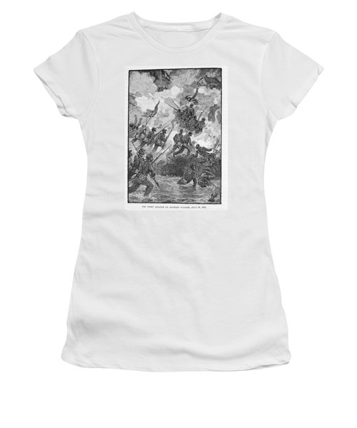 The Night Assault On Battery Wagner, July 18th 1863, Engraved By C. H. Reed, Illustration Women's T-Shirt