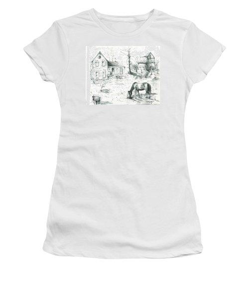 The Old Horse Farm Women's T-Shirt (Junior Cut) by Bernadette Krupa