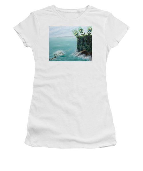 The Peacock Cliffs Women's T-Shirt (Athletic Fit)