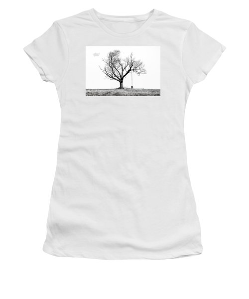The Playmate - Old Tree And Tire Swing On An Open Field Women's T-Shirt