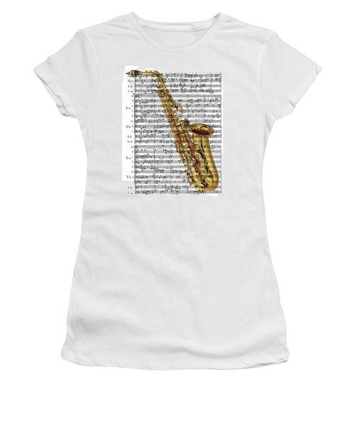 The Saxophone Women's T-Shirt (Junior Cut) by Ron Davidson