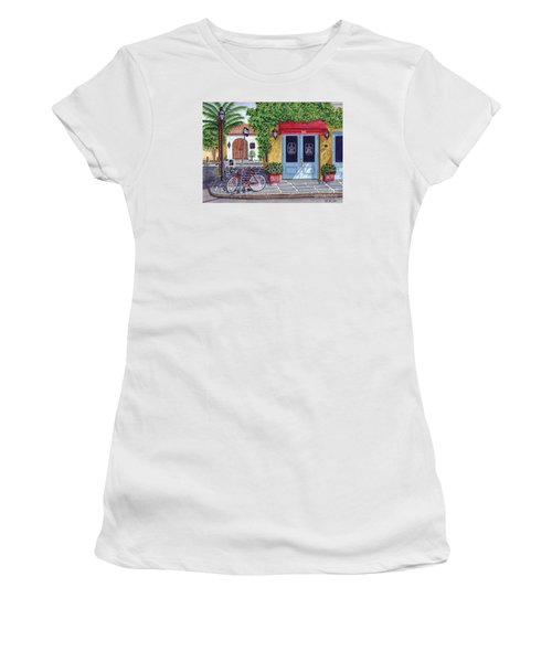 Women's T-Shirt (Junior Cut) featuring the painting The Snob Restaurant by Val Miller