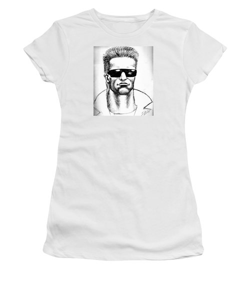 Women's T-Shirt (Junior Cut) featuring the painting Arnold Schwarzenegger by Salman Ravish