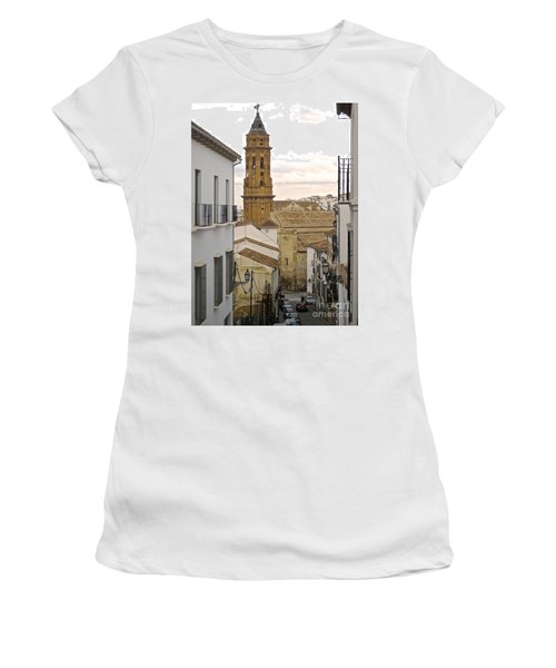 Women's T-Shirt (Junior Cut) featuring the photograph The Town Tower by Suzanne Oesterling