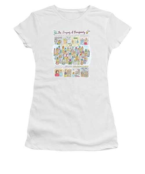 'the Tragedy Of Prosperity' Women's T-Shirt (Junior Cut) by Roz Chast