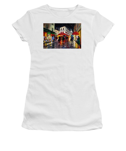 The Umbrellas Of Montmartre Women's T-Shirt (Athletic Fit)