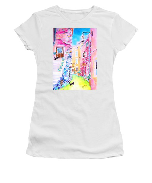 Three Cats In The Alley Women's T-Shirt (Athletic Fit)