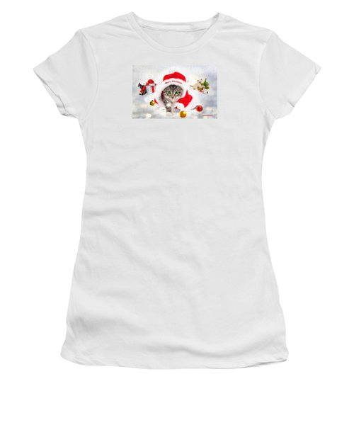 Three Christmas Kittens Women's T-Shirt (Junior Cut) by Chris Armytage