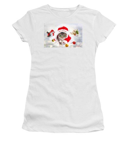 Three Christmas Kittens Women's T-Shirt