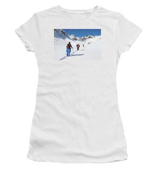 Three Fit Male Backcountry Skiers Skin Women's T-Shirt