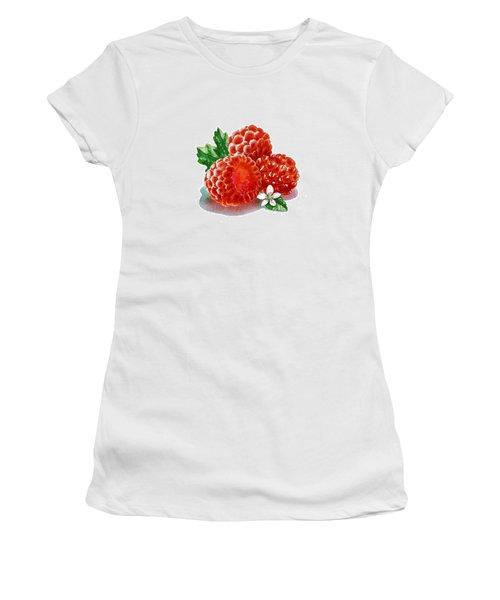 Women's T-Shirt (Junior Cut) featuring the painting Three Happy Raspberries by Irina Sztukowski