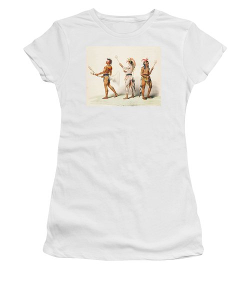 Three Indians Playing Lacrosse Women's T-Shirt