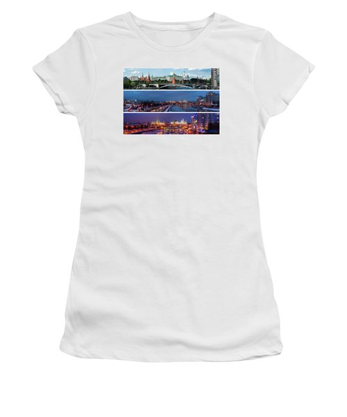 Three Panoramas Of Moscow Kremlin - Featured 3 Women's T-Shirt (Junior Cut) by Alexander Senin
