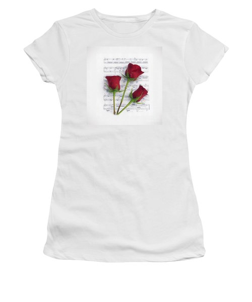 Three Rose Music Duvet Women's T-Shirt (Athletic Fit)