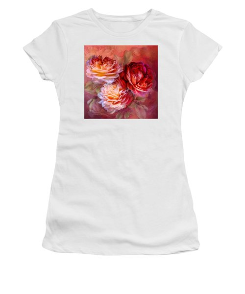 Women's T-Shirt featuring the mixed media Three Roses - Red by Carol Cavalaris