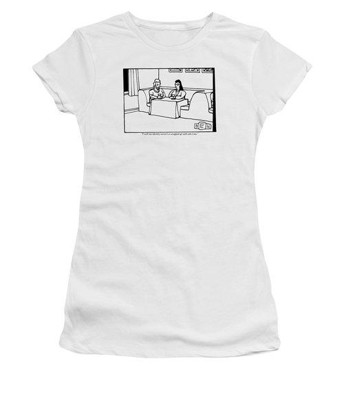 Three Women Sit Around A Booth In A Restaurant Women's T-Shirt