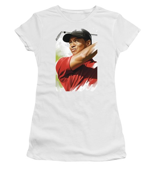 Tiger Woods Artwork Women's T-Shirt (Junior Cut)