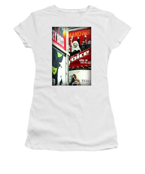 Times Square Billboards Women's T-Shirt (Junior Cut) by Valentino Visentini
